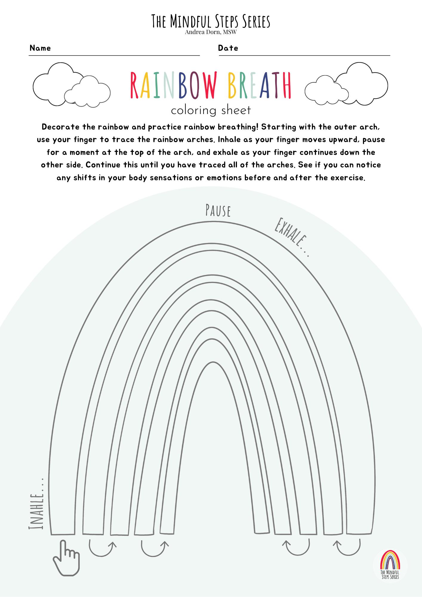 Rainbow Breath Coloring Sheet
